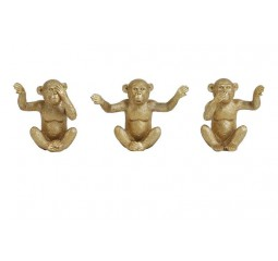 ornament monkey set van 3 goud