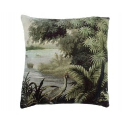 cushion crane velvet green 45x45cm