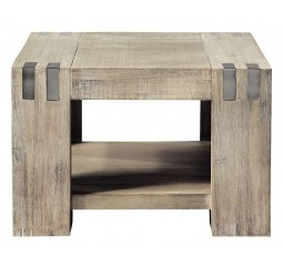 Hoektafel Bassano acaciahout light grey 65x65