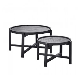 Salontafel rond 60/80 Stretto Black (set) mindi hout