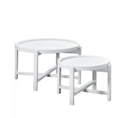 Salontafel Ø60/80 Stretto White (set) mindi hout