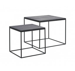 Salontafel Trentino top teak black (set van 2)