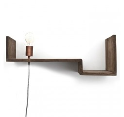 by-boo 0385 topshelf wandplank+lamp - brown