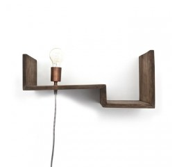 by-boo 0383 topshelf wandplank+lamp - brown