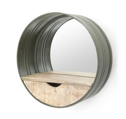 by-boo 0575 round mirror with compartment - green