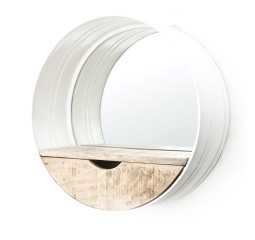 by-boo 0573 round mirror with compartment - white