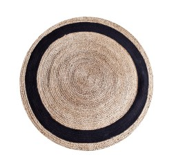 by-boo 6147 carpet jute round 120 cm - natural/bl.