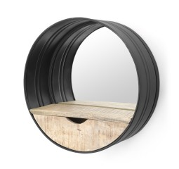 by-boo 0574 round mirror with compartment - black
