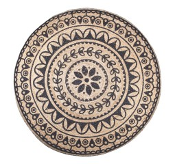 by-boo 6244 carpet jute round 220x220 cm - black